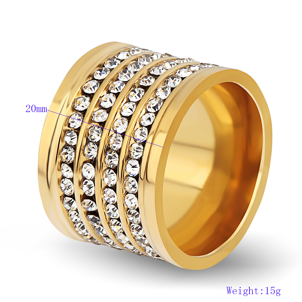 Fashion shining full 4 Row Crystal rhinestone Jewelry Ring Gold Stainless Steel Couple Wedding rings for men and Women 3