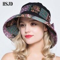 В богемном стиле Женская толстовка шляпа от солнца УФ широкий пляжный навес Hat 2018 новые летние модные бантом складываемые солнечные шляпы ж...