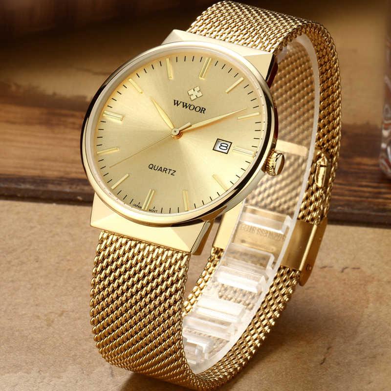 WWOOR גברים עמיד למים עסקי קוורץ שעון Mens שעונים למעלה מותג יוקרה זהב Stainess פלדת ספורט שעון יד זכר אנלוגי שעון