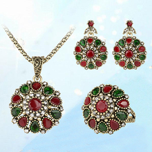 Women's Ethnic Vintage Style Rhinestone Choker Necklace Earring Ring Jewelry Set