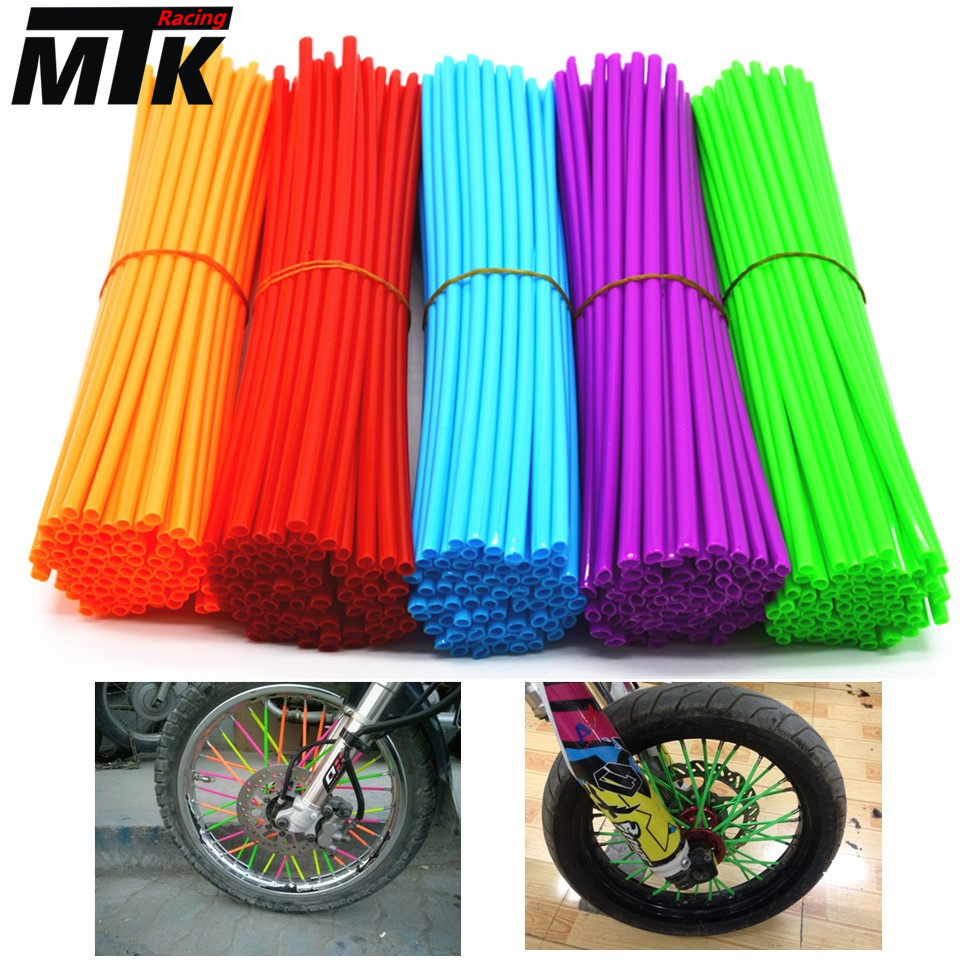Motocross Dirt Bike Enduro Wheel Rim Spoke Skins Covers For HONDA 125 SUZUKI 250 YAMAHA mt07 r3 KTM 150 KAWASAKI z800 YZ RM ktm motocross dirt bike enduro wheel rim spoke shrouds skins covers wr250 for ktm kx85 exc450 for kawasaki kx 500 crf yzf rmz kxf