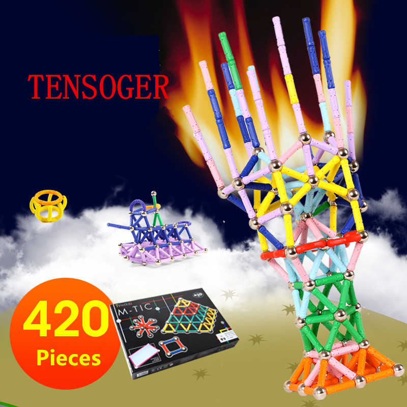 Tensoger 420 Pics Intelligence Developing Magnetic Stick Childrens Educational DIY Toys Magnet Building Blocks Magnetic Sticks ...