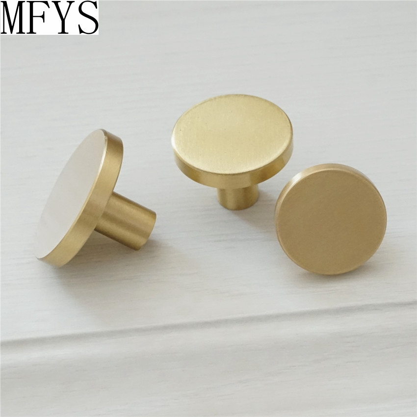 1 39 39 1 1 39 39 1 25 39 39 Brass Simple Cabinet Knob Handle Round Dresser Knobs Gold Brass Drawer Pulls Knob Kitchen Cupboard Knobs in Cabinet Pulls from Home Improvement