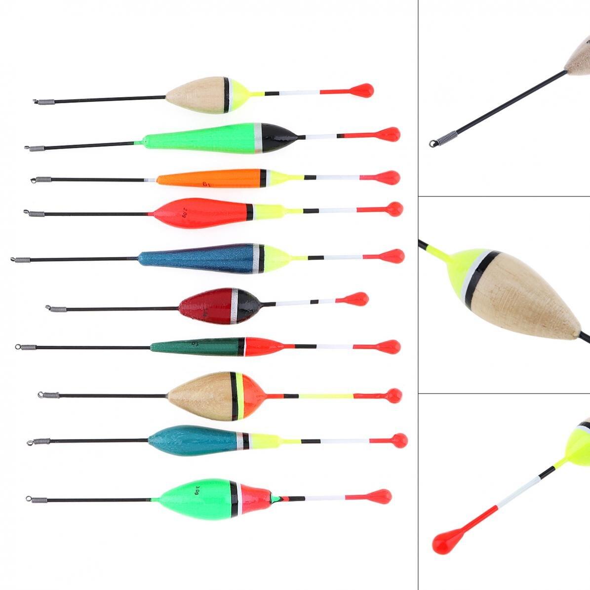 10pcs/lot Mixed Size Colorful Fishing Float Balsa Bobber 14.8cm - 17.1cm 1g - 4g for Rock Lakes Reservoir Fishing