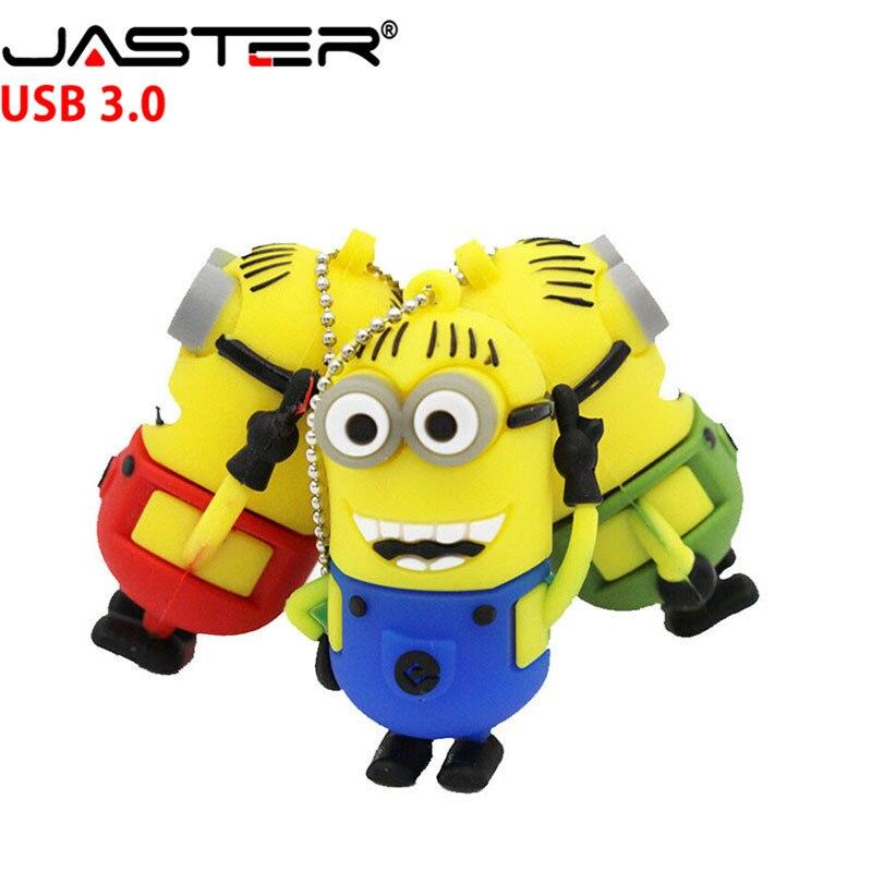 JASTER Minions Usb Flash Drive Cute Despicable Me 2  USB 3.0 Pen Drive 4gb 8gb 16gb 32gb 64GB Memory Stick Gift Thumb Drive