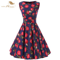 SISHION Audrey Hepburn 50s Vestidos Vintage Women Dress Cotton Formal Casual Royal Blue Strawberry Print A