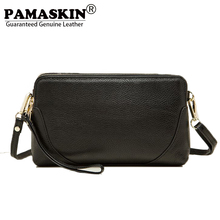 PAMASKIN 2017 Hot Selling Premium Genuine Leather Women Messenger Bags Female Day Clutches with Hand Rope Fashion Cross-body Bag