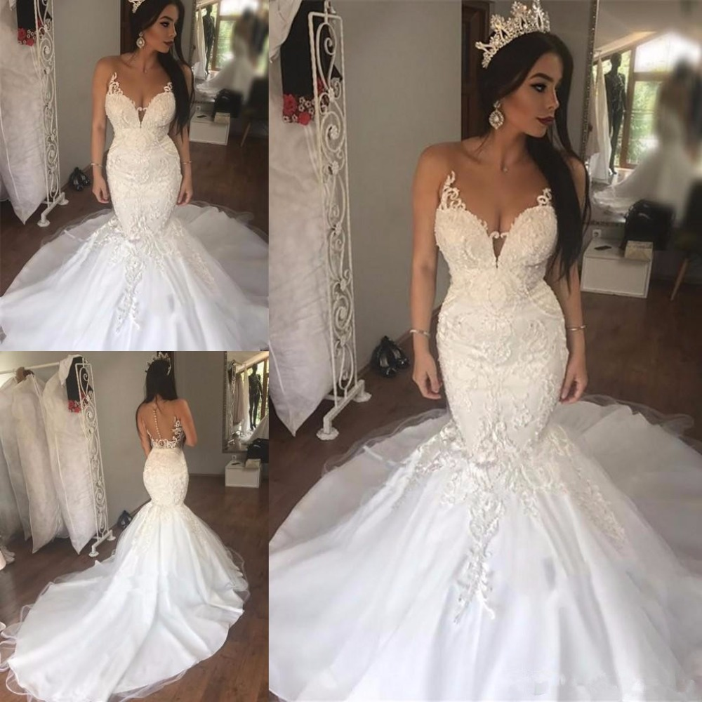 Charming Illusion Neck Mermaid Wedding Dresses Button Tulle Satin Court Train African Modest Bridal Wedding Gowns