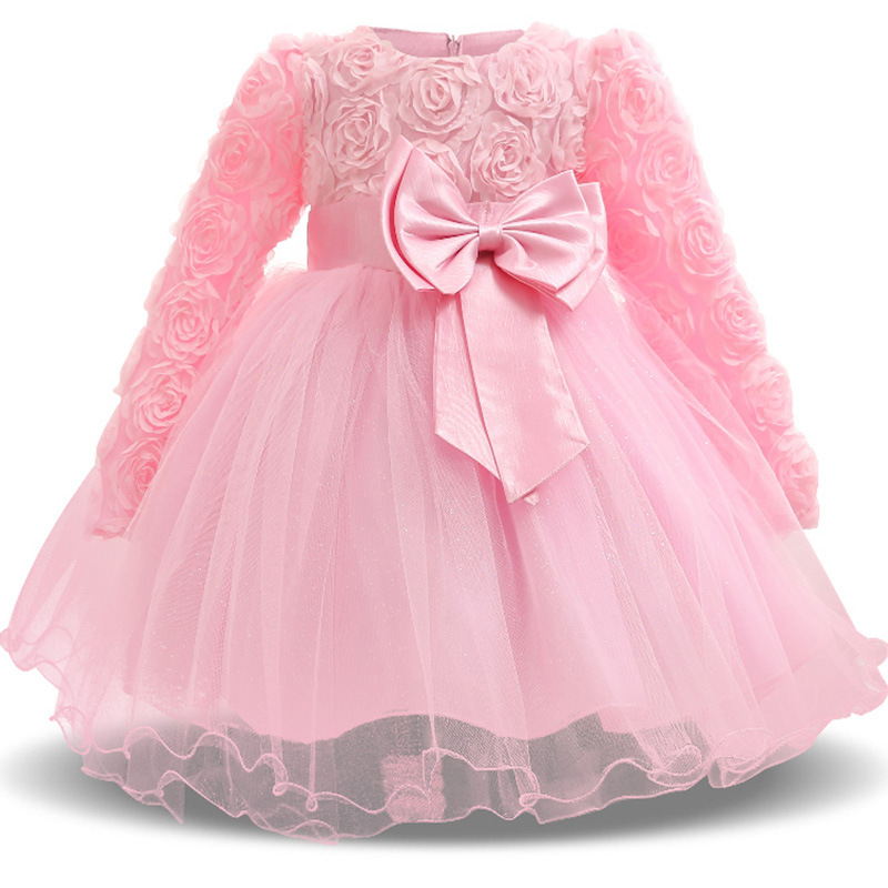 2018 nouvelle robe de noël à manches longues Rose robe de soirée spectacle robe de princesse Vestidos nouvelle mode pour fille C
