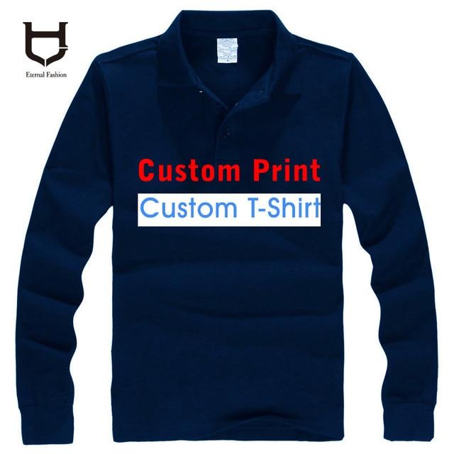 Custom Made logo Polo shirts personal custom DIY Logo Men's long sleeve Shirt Customized designer Mix colour 100% cotton Polos
