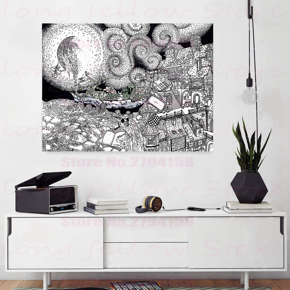 Black and White Artwork Art Giclee Prints Abstract Cartoon Starry Night Landscape Picture for Kid 39 s Room Wall Decor Dropshipping in Painting amp Calligraphy from Home amp Garden