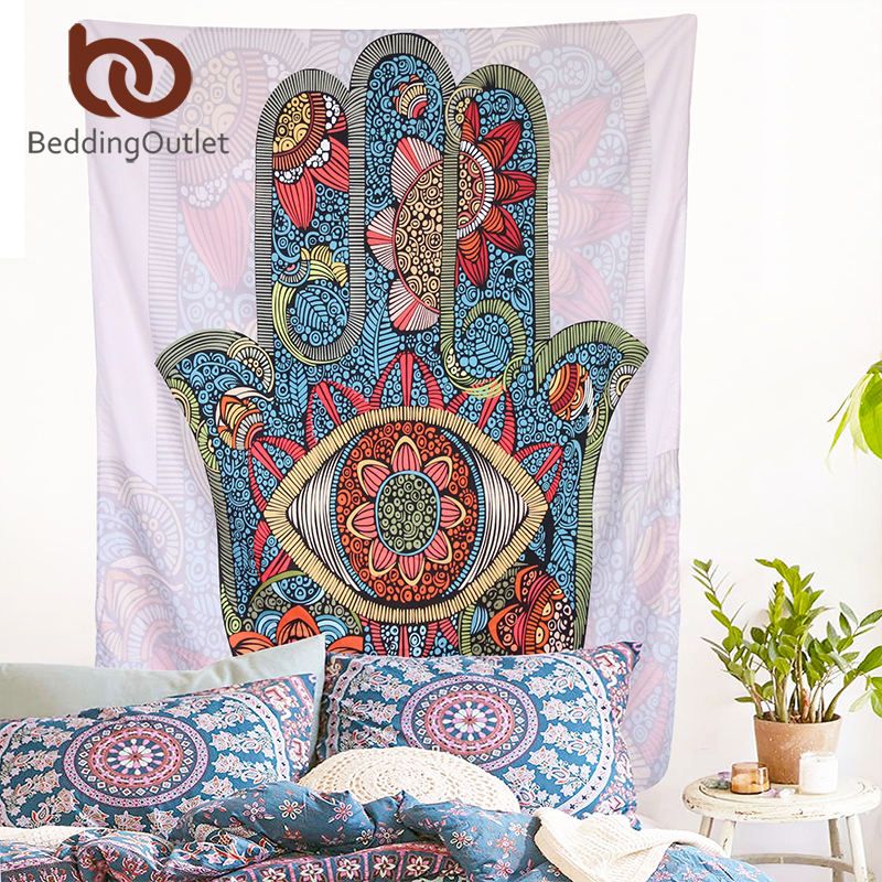 BeddingOutlet Hamsa Hand Tapestry Indian Mandala Floral Wall Hanging Tapestry for Home Psychedelic Bedspread Art Carpet 2 Sizes