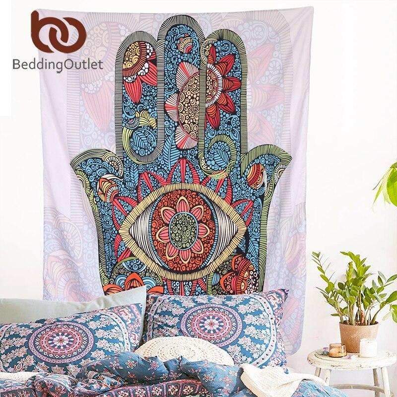 BeddingOutlet Hamsa Hand Tapestry Indischen Mandala-blumenmuster Wandbehang Tapisserie für Home Psychedelic Bettdecke Art Teppich 2 Größen