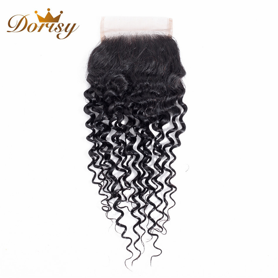 Dorisy Hair Pre-colored 100% Human Hair Weave Non Remy Natural Color 8-20 Inch Malaysian Kinky Curly 1 Closure Free Shipping