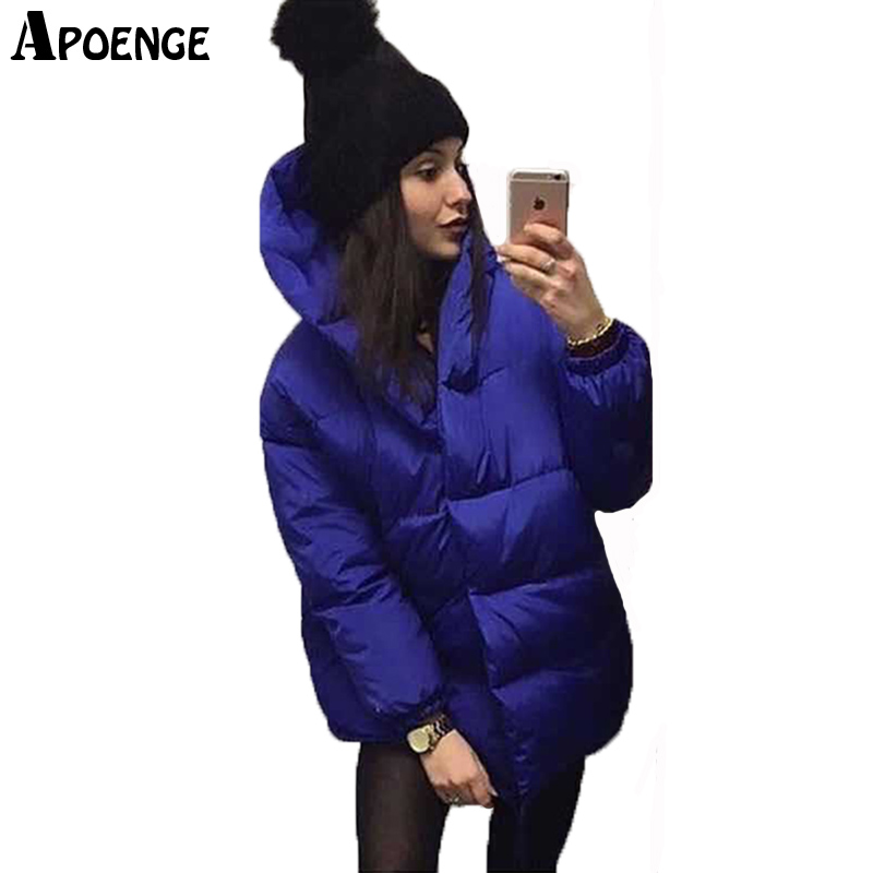 APOENGE veste femme hiver 2017 New Casual Loose Solid Winter Jacket Women Long Hooded Cotton Winter Coat Parka Femme QN577