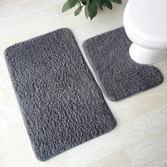2pcs Bathroom Mats Set Anti Slip Bath Rug Kit Toilet Pattern Non Home