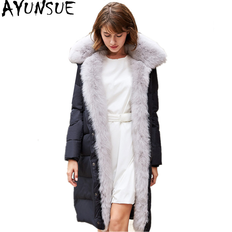AYUNSUE 2018 Luxury Winter   Down   Jacket For Women Long Warm   Down     Coat   Female With Large Real Fox Fur Collar Warm Jackets WYQ866