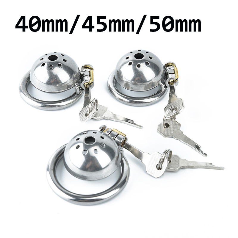 3 Size 40mm/ 45mm/50mm 304 Stainless Steel Male Chastity Device Super Small Short Cock Cage With Stealth Lock Ring