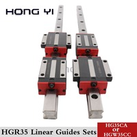 2pcs linear rail HGR35 35mm cnc parts and 4pcs HGH35CA or HGW35CC linear guide rails block HGW35CC hgh35