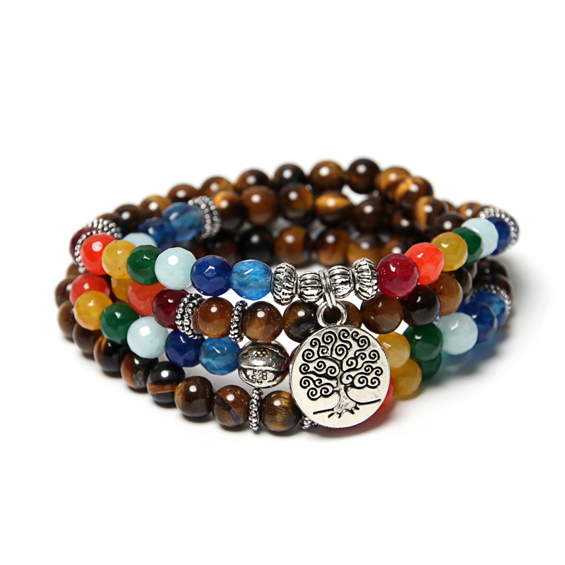 NAPOLN Tree Life Pendant Multilayer Beaded Bracelets Natural Stone For Men Mala 108 Buddhists Bracelets For Women Dropshipping