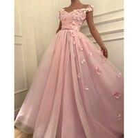 Замечательный розовые цветы Тюль вечернее платье 2019 Лодка шеи Кепки рукавом Линия длинное торжественное платье для выпускного бала сделан