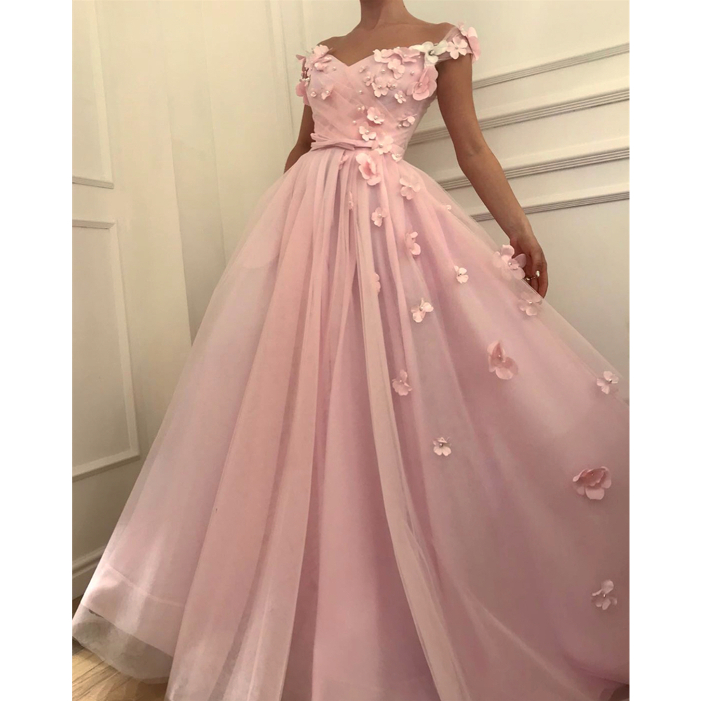 Wonderful Pink Flowers Tulle   Evening     Dress   2019 Boat Neck Cap Sleeve A Line Long Formal Prom Gowns Custom Made Women Party   Dress