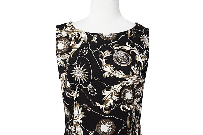 Kostlish Elegant Print Women Summer Dress Sleeveless Cotton Hepburn 50s 60s Vintage Dress With Belt Casual A-Line Ladies Dresses (17)