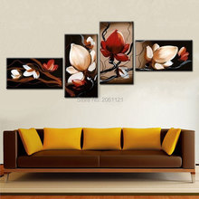 best sale dark Red flower Art Canvas Painting Oil Cheap Wall Decor Room Pictures Modern Abstract 4 Piece Sets