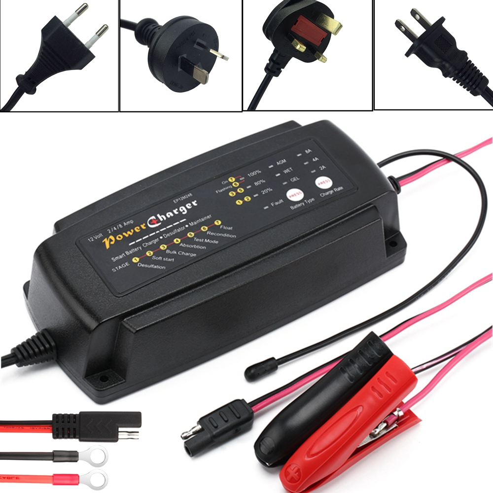 12V Battery Charger 2A 4A 8A 7 Stage Smart Boat RV Car Battery Charger Maintainer Desulfator