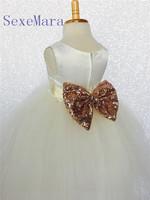 Ivory Tulle Rose Gold Sequin Bow Flower Girl Dress For Wedding Bridesmaid Easter Cottage Toddler Infant