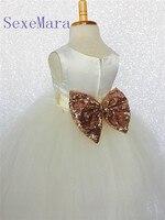 Ivory Tulle Rose Gold Sequin Bow Flower Girl Dress For Wedding Bridesmaid Easter Cottage Toddler Infant