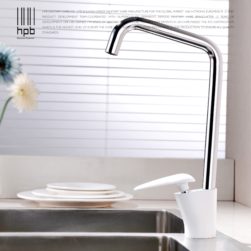 HPB White Paint Kitchen Faucet Water Mixer Single Handle Hot And Cold Sink Tap Brass Chrome