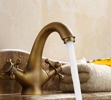 Оптовая продажа высокое качество ванной бассейна античная латунь Faucets двойная ручка Faucet кран смеситель AF1036