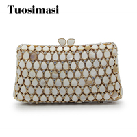 2017 new luxury diamonds wedding party bag crystal women evening bags hollow shoulder handbag female day clutches(88227 PS)