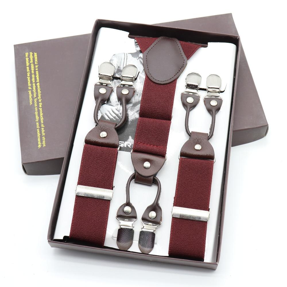 Fashion 6 Clip Suspenders Rivet Elastic Webbing Brace Suspenders Men Women Malc Wedding Shirt Accessories