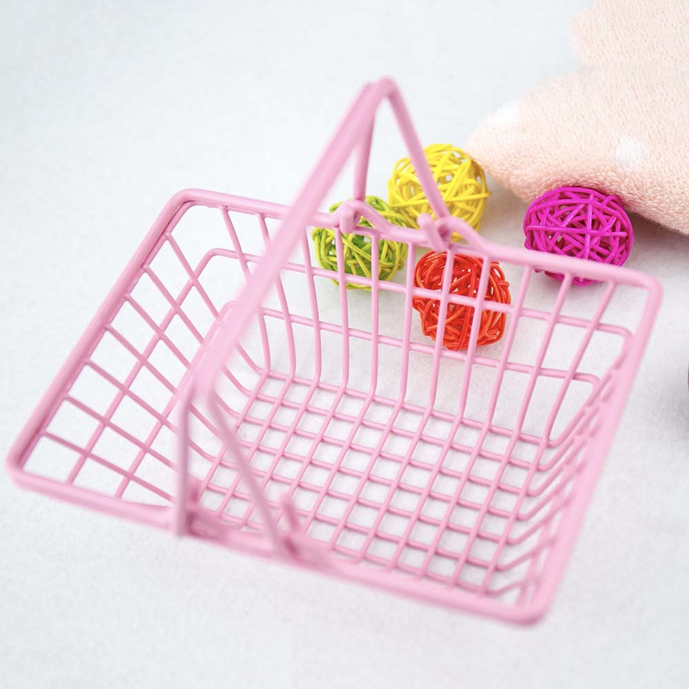 Mini Shopping Basket New Pink Desktop Storage Sorting Box Ins Photo Background Props Pink Shopping Basket