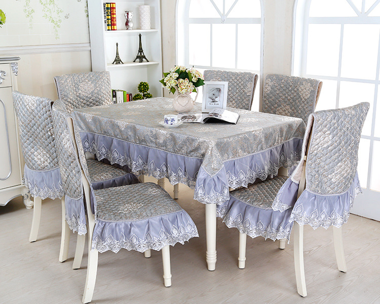 Lace floral jacquard tablecloth set suit 130 180cm table cloth matching chair cover 1 set price