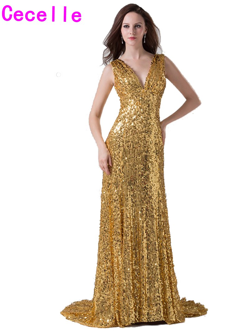 Online buy wholesale gold sequin bridesmaid dress from china gold 2017 real sexy gold sequins mermaid long bridesmaids dresses v neck sleeveless women formal wedding party ombrellifo Choice Image