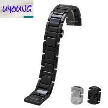 Высокое качество Керамической Черный ремешок браслет ремешок женщины мужчины 14 мм 16 мм 18 мм 20 мм керамические часы band