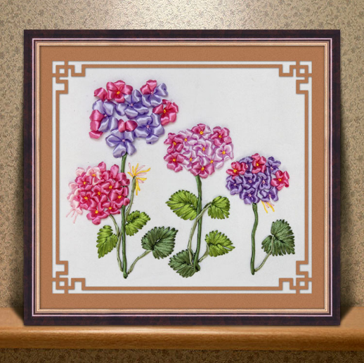 45x35cm Step By Kose Ribbon Embroidery Kit Stain Painting Set Handcraft DIY Handmade Needlework Art Home Decor In From Garden On
