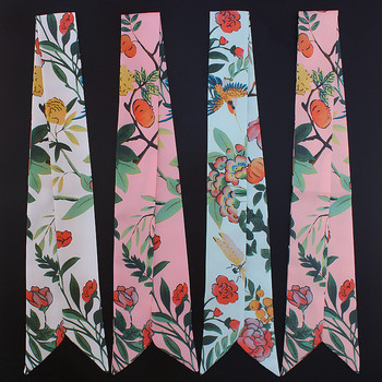 2018 New Design Scarf Floral Print Tie Women Silk Scarf Fashion Head Scarf Brand Handle Bag Ribbons Small Long Scarves C49