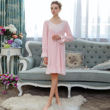2019 Retro Lace Nightgowns Women Long Sleeve Cotton Nightdress Sleepwear Palace Princess Sleeping Dress Nightwear