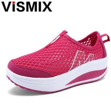 VISMIX Hot Selling 2017 Fashion Floral Print Leather Platform Evelator Shoes Women Swing Wedge Casual Shoes 5 Cm Platform Shoes