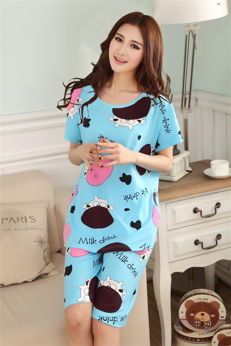 d105ca16f5 girl sleeping clothes sets women pajamas sleepcoat nightgown nighty short  sleeve tops tees+full pants bedgown-in Pajama Sets from Underwear    Sleepwears on ...