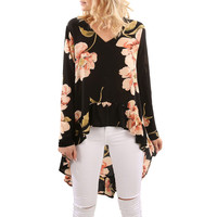 2017 New Arrival Women Floral Print Long Sleeve Shirt Casual Blouse Ruffles Irregular Tops V Neck