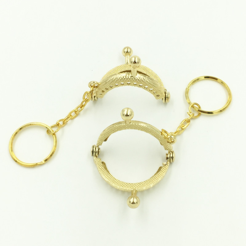 10Pcs Gold Plated Clutch Coins Purse Purse Metal Arc Frame Kiss Clasp With Key Ring Handbag Handle 4x3 5cm in Bag Parts Accessories from Luggage Bags