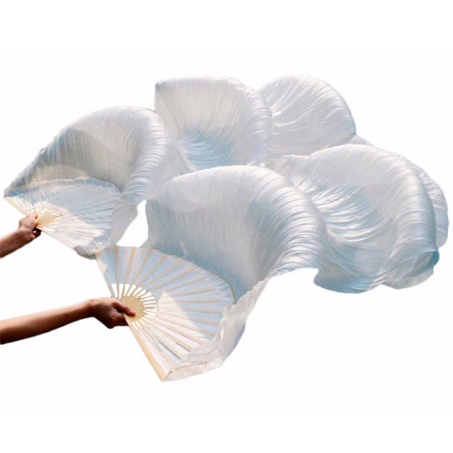 Hot Selling 100% Silk Unisex High Quality Chinese Silk Veil Dance Fans 1Pair Belly Dance Fans Hot Sale Pure White Color 180*90cm