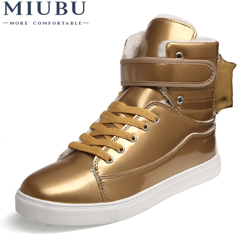 MIUBU Men Shoes Golden High Top Men'S Casual Shoes British Gold And Silver Winter Shoes Men Big Yards 46 Boots Students Shoes 15cm club shoes big star with steel tube dancing shoes 34 and 46 yards high with the lacquer that bake single crystal shoes