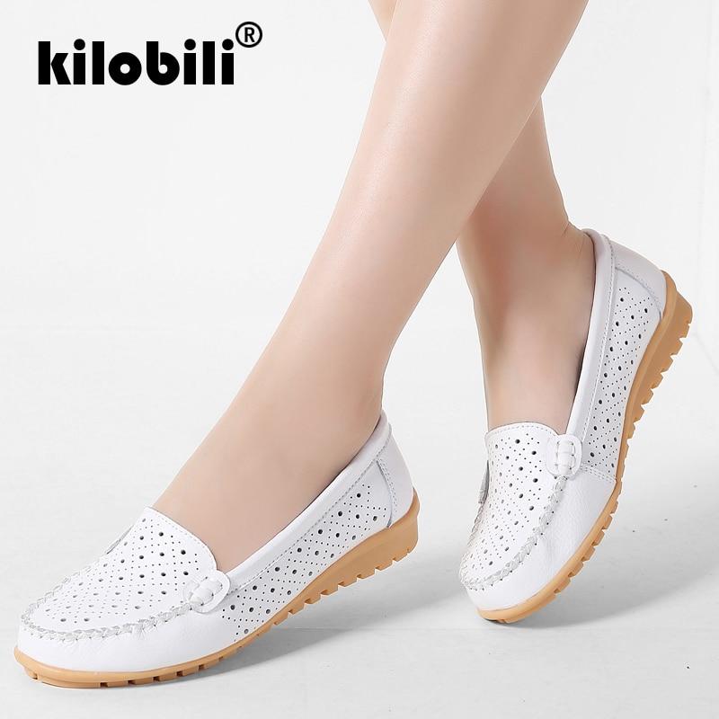 kilobili 2018 Summer women flats shoes genuine leather shoes woman cutout loafers slip on Breathable ballet flat ballerina flats