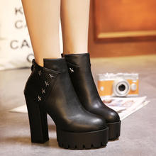 2019 new fashion high platform ankle boots for women  thick heels winter quality leather shoes